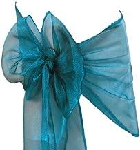 VDS - 25 PCS Elegant Organza Chair Bow Sashes Bows Ribbon Tie Back sash for Wedding Party Banquet Decor - Dark Teal