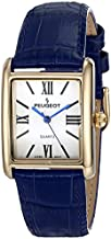 Peugeot Women's 14K Gold Plated Tank Leather Dress Watch with Roman Numerals Dial, Blue