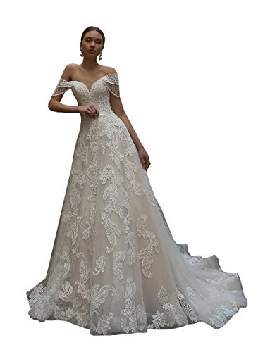 Melisa Elegant Off The Shoulder Lace Beaded Beach Mermaid Wedding Dresses for Bride with Train Bridal Ball Gown Ivory