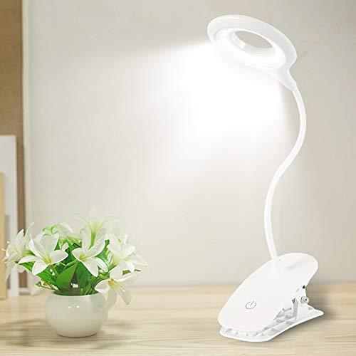 Lámpara Escritorio LED Flexo de Escritorio con control táctil 3 Modos de Brillo 360 °Flexible Cuidado Ocular Carga USB con Clip