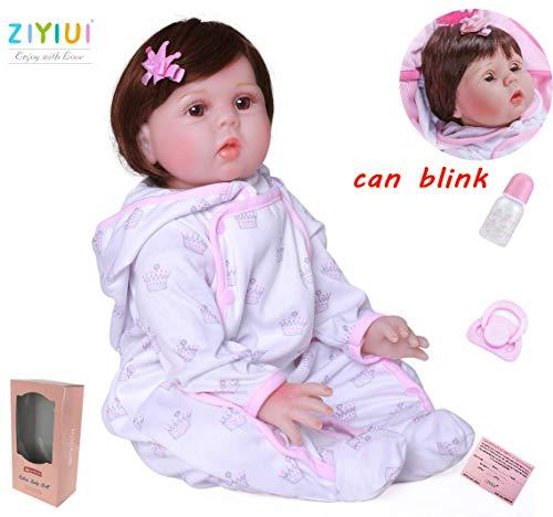 ZIYIUI Bebe Reborn Muñecas 55 cm 22 Pulgadas Bebe Reborn niña de Silicona Real Suave Vinilo Recién Nacido Bebé Reborn niñas Juguetes