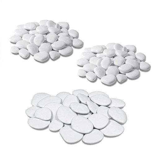 Teraplast - Piedras decorativas para jarrones, jardín y acuario en plástico reciclado - 3 paquetes, color blanco
