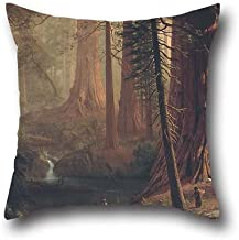 Pillow Covers Of Oil Painting Albert Bierstadt - Giant Redwood Trees Of California,for Drawing Room,living Room,pub,bar,son,festival 20 X 20 Inch / 50 By 50 Cm(each Side)