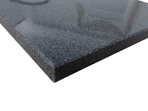 Kaminprofi Pizzastein Granit | Für Backofen und Grill | Schneidebrett | polierter Granit Padang dunkel