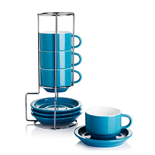 Sweese 406.107 Porcelain Stackable Cappuccino Cups with Saucers and Metal Stand - 8 Ounce for Specialty Coffee Drinks, Cappuccino, Latte, Americano and Tea - Set of 4, Steel Blue