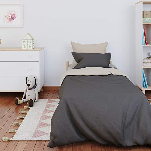 Dreamzie - Bettwäsche 135x200cm - Wendebettwäsche 100% Baumwolle Oeko TEX - Beige + Grau - Bettdeckenbezug und 1 Kissenbezüge 80x80 cm