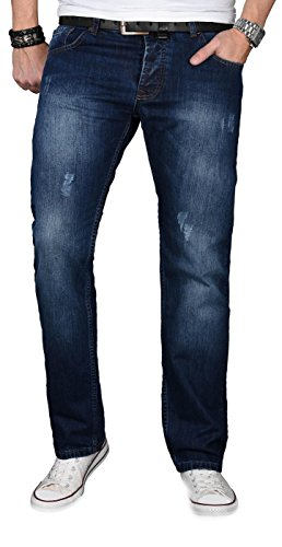 A. Salvarini Designer Herren Jeans Hose Jeanshose Regular Comfort gerades Bein, 34W / 30L, Dunkelblau
