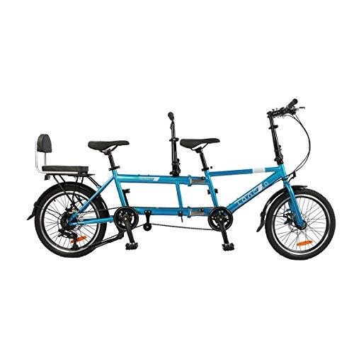 HBNW Ciudad Tándem Bicicleta Shimano Variable Speed Riding Pareja Entretenimiento Universal Caminante Plegable Andar En Bicicleta Viajes De Doble Disco De Freno