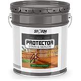 Storm Protector Penetrating Sealer & Stain Protector - Deck Protector, Fence Protector, Mahogany Stain, Redwood Stain, 5 Gallon (Golden Oak)