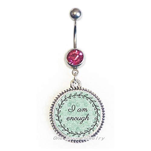 Anillo de ombligo con dije inspirador, anillo de ombligo, regalo para ella, sobreviviente del cáncer, guerrero, regalo para amigos, TAP281