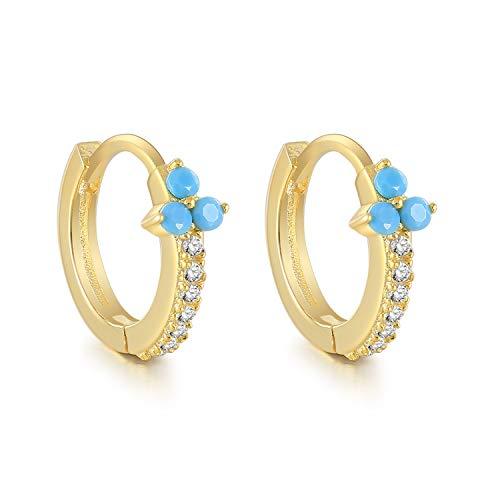 Cristales blancos azules pequeños pendientes de aro de trébol para mujeres joyería pendientes cartílago 925 plata esterlina pendientes