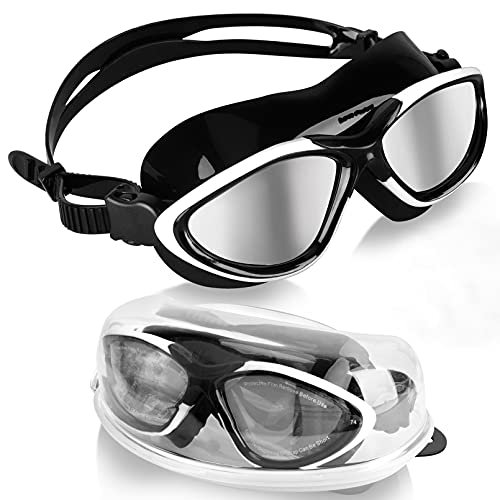 Winline Gafas de Natación Anti Niebla Hermético Ajustable Gafas de Natación para Adultos para Hombres Y Mujeres (Black&White/Silver Mirrored Lens)