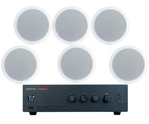 FONESTAR Pack risparmio 150 - Amplificatore PROX-60 + sei altoparlanti da soffitto GAT-601