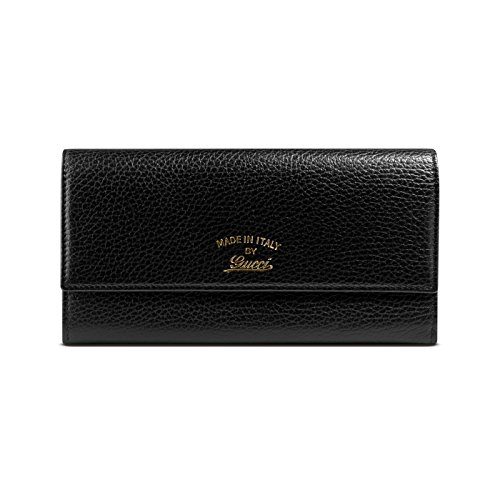 Gucci Women's Black Swing Leather Snap Closure Continental Wallet