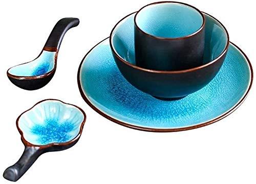 JOMOSIN CP0206 Juego de 5 Piezas Degradado Azul cerámico Cuenco de cerámica 7 Pulgadas Placa de Ensalada pequeña Sopa Cuchara Taza de té japonés Suave