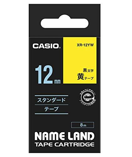 カシオ ネームランド ネームランドテープ スタンダードテープ 12mm 黄テープ 黒文字 1個 XR-12YW
