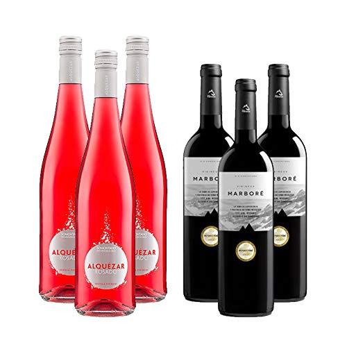 Vinos Tinto Marbore Pirineos Seleccion y Rosado Alquezar - D.O. Somontano - Mezclanza Barbadillo (Pack de 6 botellas)