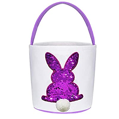 Poptrend Easter Basket Bags,Easter Eggs/Gift Baskets for Kids,Bunny Tote Bag Bucket for Easter Eggs,Toys, Candy,Gifts (Purple Paillette)