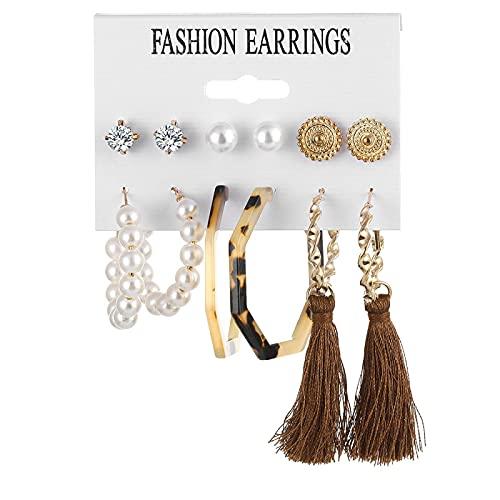 FEARRIN Pendientes para Mujer, Conjunto de Pendientes Bohemios para Mujer, Pendientes geométricos de Perlas acrílicas de Moda, joyería Femenina H70-ZL1507