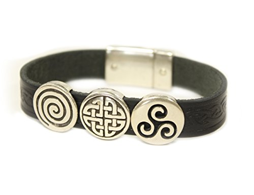 Biddy Murphy Celtic Leather Bracelet Irish Charms Black 7 Inches Made in Ireland