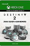 Xbox Live Tarjeta Regalo para Monedas de Plata de Destiny 2: 3000 (+500 Bonus) Xbox One/Windows 10 PC - Código de descarga