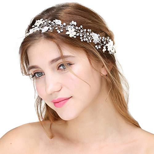 Coucoland Braut Haarband Blumen Perlen Satin Band Zweig Muster Vintage Braut Haarschmuck Braut Hochzeit Accessoires Stirnband (Silber)