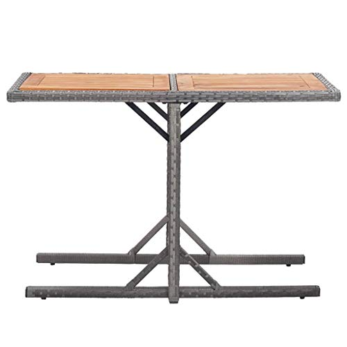 Ausla Wood Garden Table, Anthracite Poly Rattan Dining Table for Dining Room Garden Restaurant Anthracite Poly Rattan and Solid Wood