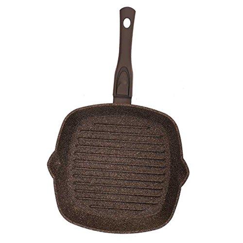 28cm Grillpfanne Steak Bratpfanne 3-fache Antihaftbeschichtung Griff abnehmbar
