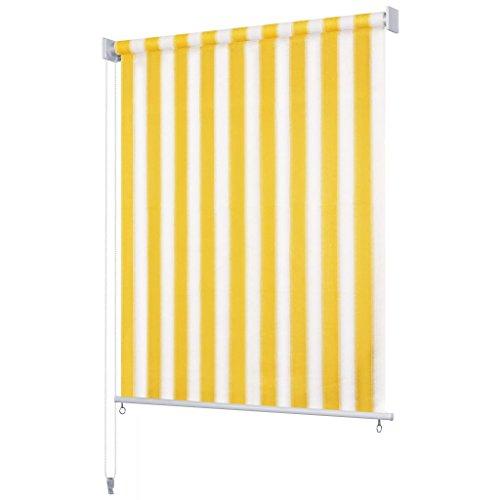 Festnight 140x140 cm Toldo Vertical para Balcón y Terraza, Uso al Aire Libre, Protector Solar Cortavientos privacidad, Amarillo y Blanco