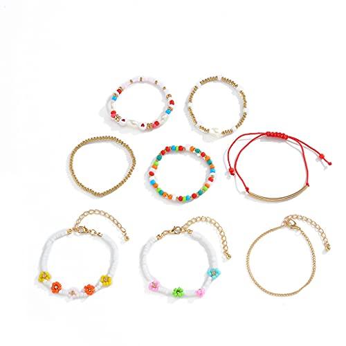 gulang-keng Multilayer Multicolor Ethnic Bohemian Bracelet, Resin Beads Armbänder für Frauen, Handmade Flower Heart Rope Bracelet Sets for Bohemian Jewelry Gift