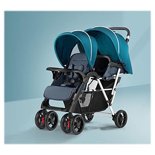 Double Stroller, Cochecitos Compactos For Recién Nacidos, Dobles Cochecitos For Bebés Y Niños Pequeños, Stand-on Tandem Stroller, Cochecito De Bebé Convertible En Asiento De Bassinet ( Color : Green )
