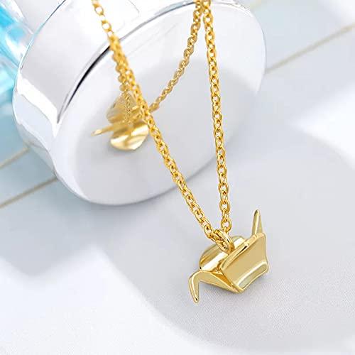 N/A Regalo Colgante de Collar de Mujer Joyería de Moda Acero Inoxidable Origami Crane Colgante Collar Mujer Dama de Honor Regalo