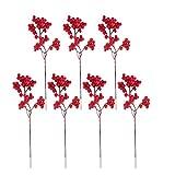 LIOOBO 10pcs Bacche di Agrifoglio Bacche Rosse Artificiali Raccoglie steli per composizioni Floreali di Natale ghirlande Decorazioni Natalizie