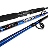 Fiblink 1-Piece Trolling Rod Saltwater Offshore Spinning & Casting Roller Rod Conventional Boat Fishing Pole (6'-H - 50-80LB(Blue))