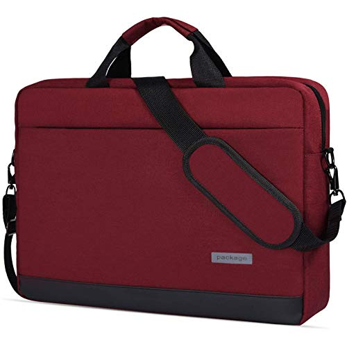 15.6 Inch Laptop Sleeve Case Waterproof Shockproof Shoulder Bag Compatible with Acer Aspire E 15,Acer Predator Helios 300,ASUS VivoBook F510UA 15.6',Lenovo HP LG MSI and Most 15.6' Notebook,Red Wine-2