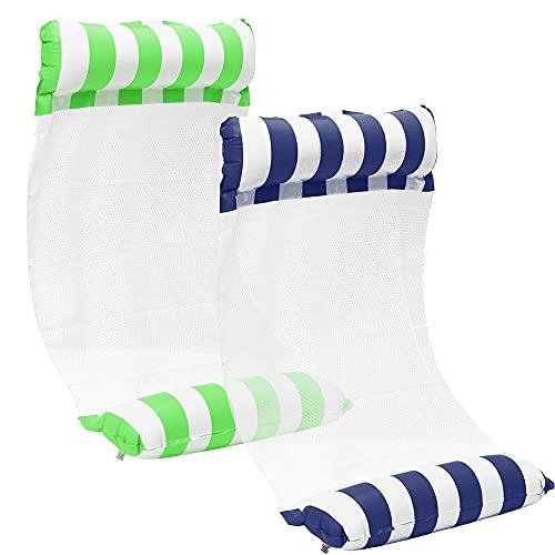 FUYA [2Stück] Aufblasbare Wasserhängematte Schwimmbett 4 in1 Wasser Hängematte Loungesessel Pool Lounge luftmatratze aufblasbare hängematte Schwimmbad Strand (Green+Blau)