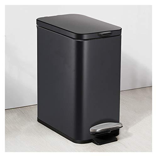 Poubelle Foot-commande Poubelle avec couvercle en acier inoxydable étroit des ménages Garbage Can moderne et Garbage Pedal Simple Bin, 5L / 1.3 Gallons (Color : Black)