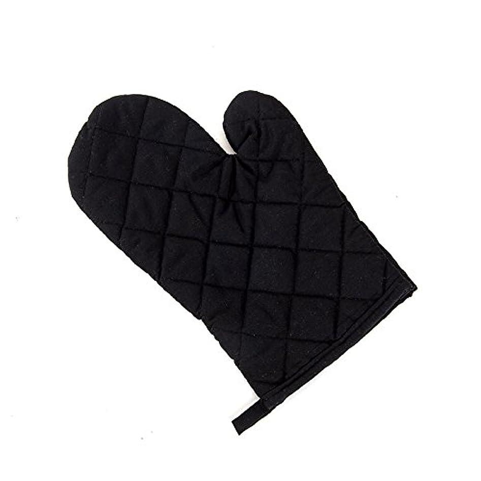 憎しみ性交カバーシリコーンチェック耐熱ミットオーブンミットシリコン手袋、滑り止め料理、バーベキュー、ワンサイズ全ての耐熱温度160°C (Color : ブラック)