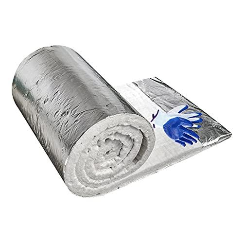 Manta De Cerámica Con Revestimiento De Aluminio (2300F 8 #), Materiales De Aislamiento Ligero Duradero Fácil De Cortar Para Flue, Revestimiento Del Horno ( Color : White , Size : 40mm/61cm*3.6m )