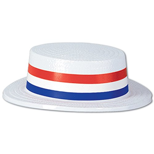 Lowest Price! Pack of 24 Patriotic 4th of July Skimmer Party Hats with Red, White and Blue Striped B...