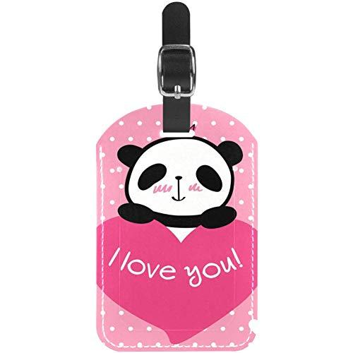 Etiquetas de Equipaje Shy Panda de Piel para Maleta de Viaje, 1 Paquete