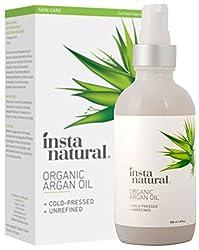 InstaNatural Bio Arganöl – 100% reines & zertifiziert biologisches, kaltgepresstes aus Marokko – Für Haare & Gesicht, Bei Akne, brüchigen Nägeln, trockener Kopfhaut, Spliss, Dehnungsstrreifen – 120 ml