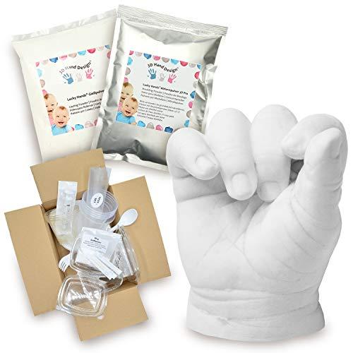 Lucky Hands® 3D Abformset mit Zubehör | Handabdruck, Gipsabdruck | Geschenkidee zum Muttertag (0-6 Monate, 2-3 Modelle)
