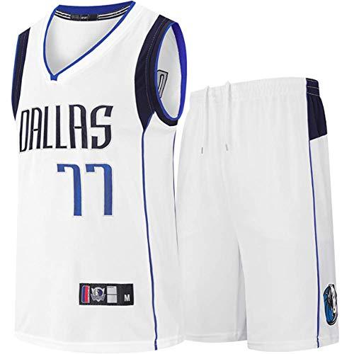 CYYMY Camiseta de Jugador de Baloncesto para Hombres, NBA #77 Camiseta con Bordado, Camiseta de Los Fanáticos, Chaleco Transpirable Deportivas de Jersey Swingman,Blanco,XXXL