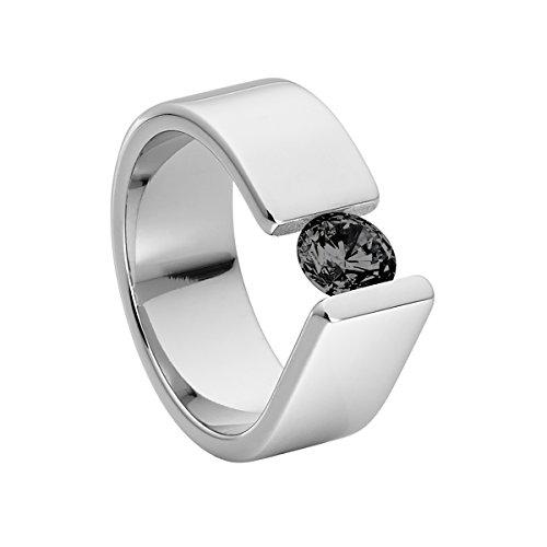 Heideman Ring Damen Maxime aus Edelstahl Silber farbend poliert Damenring für Frauen mit Swarovski Stein Zirkonia schwarz im Brillant Schliff 6mm