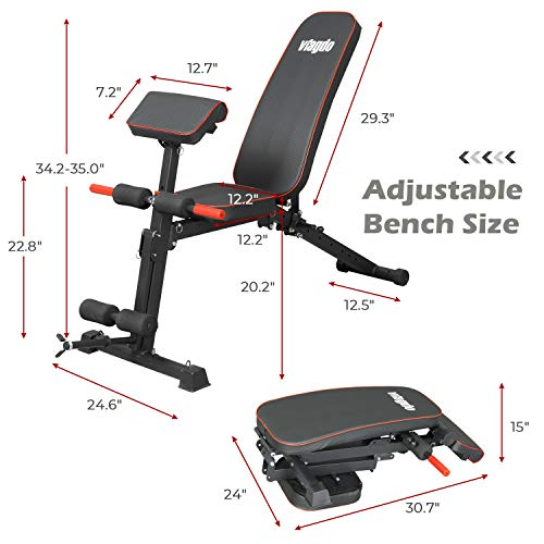 VIAGDO Weight Bench with 8 Adjustable Angles Backrest and Priest Stool, Foldable Workout Bench for Full Body, Flat/Incline/Decline FID Exercise Bench Press for Home Gym