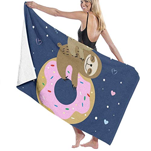 Sloth On The Donut Toalla de baño Suave y súper Absorbente, Adecuada para Hotel, Piscina, Gimnasio, Playa, 32 Pulgadas X