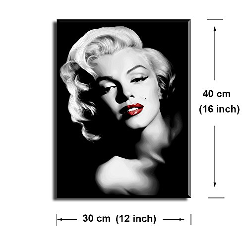 """Canvas Wall Art, PIY Red Lips Wall Decor, 1 Piece Black and White Canvas Prints for Bedroom, 1"""" Deep Frame, Ready to Hang, Water Proof Artwork Decal"""