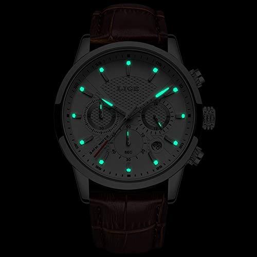 Relojes para hombre LIGE Top marca de cuero cronógrafo impermeable deporte automático fecha reloj de cuarzo para los hombres Relogio Masculino