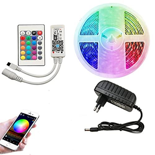 Aiglen JJZXL LED WiFi Luz de Tira DC 12V SMD 5050 Cinta de Cinta de diodo RGB luz WiFi Conjunto Remoto Completo de iluminación Impermeable (Color : WiFi Set, Size : 10M)